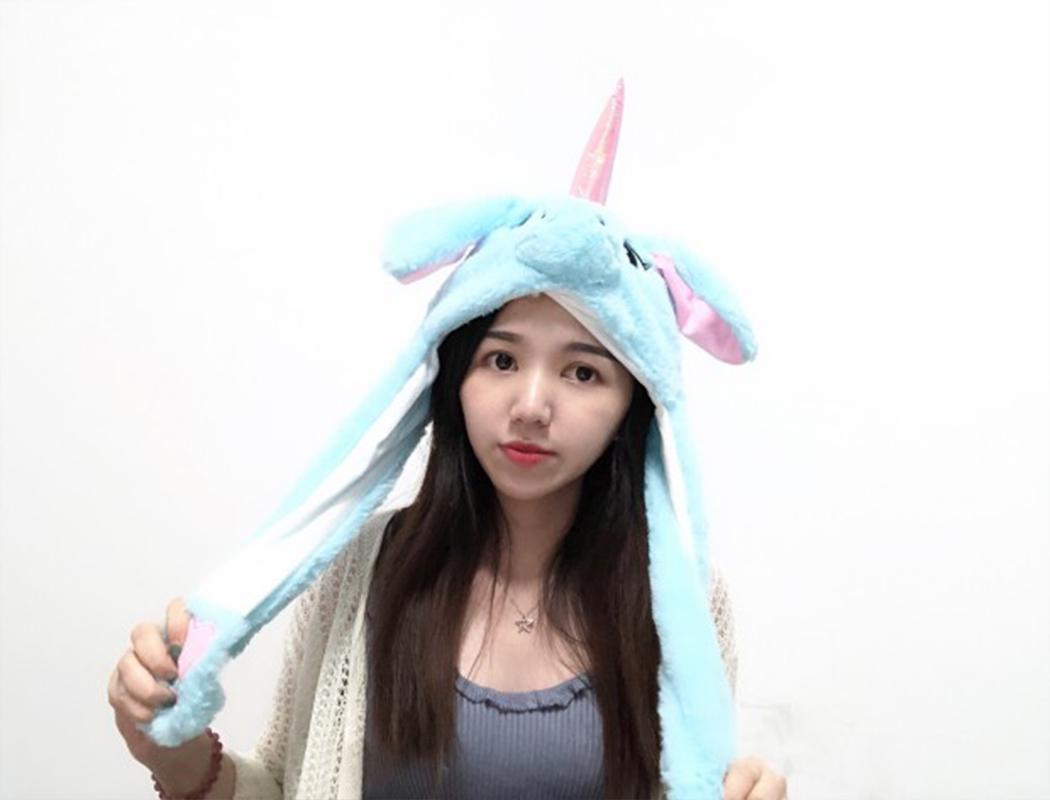 Lovely Cartoon Jumping Animal Ears All Matching Hat Air Bladder Cap Unicorn blue