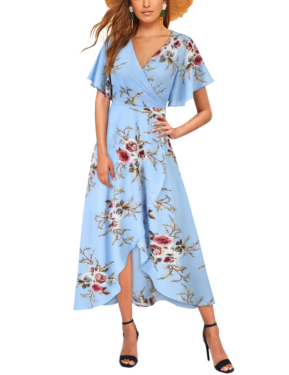 Women Chiffon Dress V-neck Floral Print Short Sleeve Middle Waist Split Maxi Dress