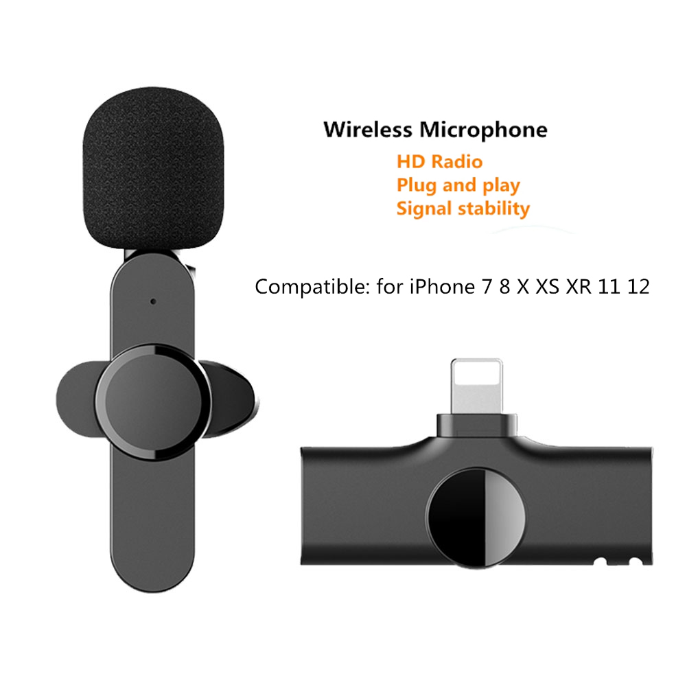 EP033 Wireless Microphone Mini Lapel Microphone For Iphone Android Smartphone Recording Video Blog Interview iOS interface