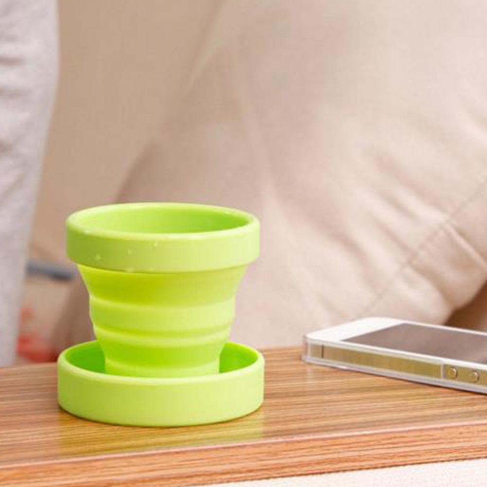 Retractable Folding Silicone Water Cup-Green