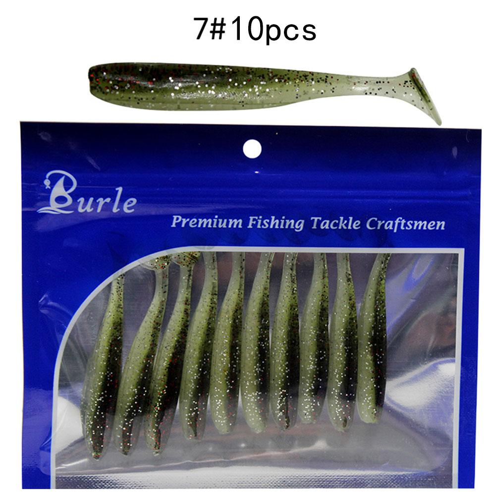 10pcs/Lot Soft Lures Silicone Bait For Fishing Sea Fishing Pvc Swimbait Wobblers Artificial Tackle 7#_9cm4.2g ten pcs