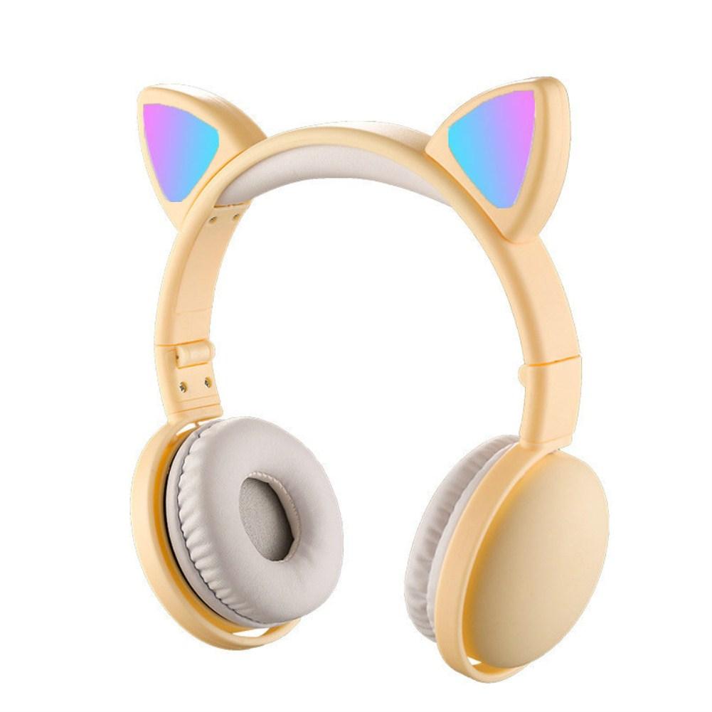 Headset Foldable Cartoon Wireless Cat Ear Headphones Light Bluetooth Headset light yellow