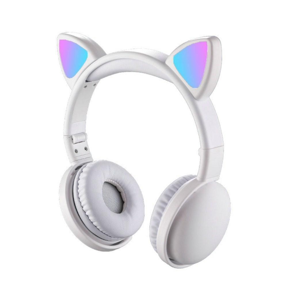 Headset Foldable Cartoon Wireless Cat Ear Headphones Light Bluetooth Headset white