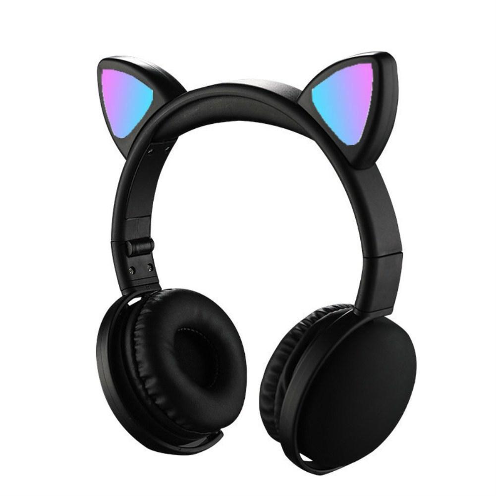 Wholesale Headset Foldable Cartoon Wireless Cat Ear Headphones Light Bluetooth Headset Black From China