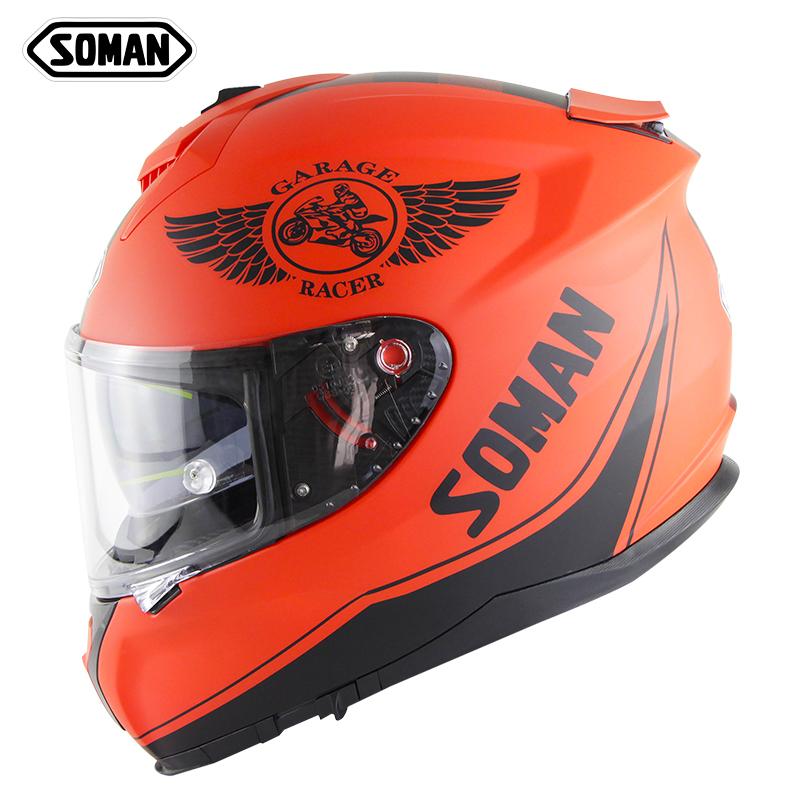 Motorcycle Helmet Riding Racing Helmet Men Women Outdoor Riding Double Lens Full Face Helmet Ece Standard Matte Red_L