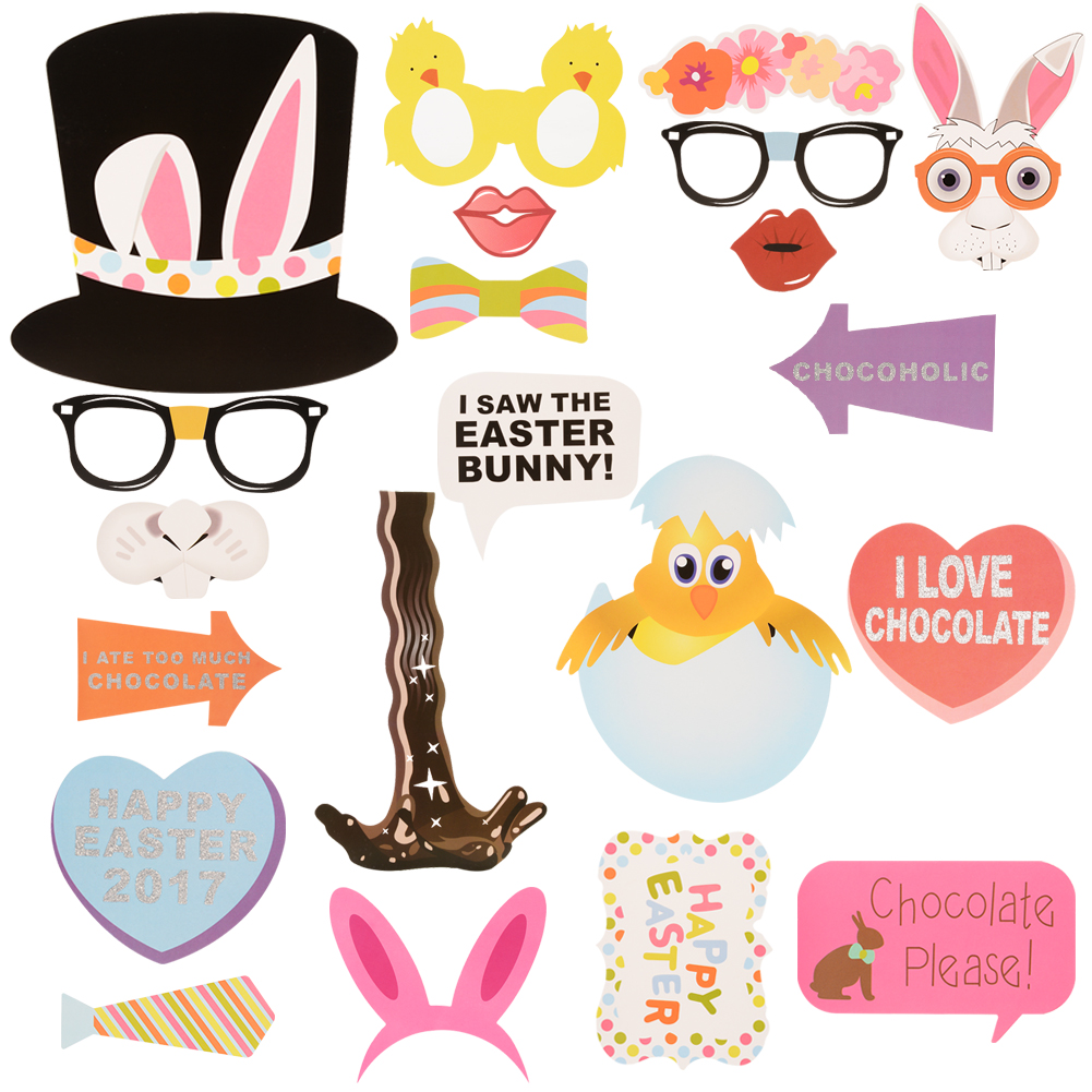 [US Direct] Easter Birthday Party Rabbit Egg Basket Funny Mustache Picture Photo Booth Props Kit