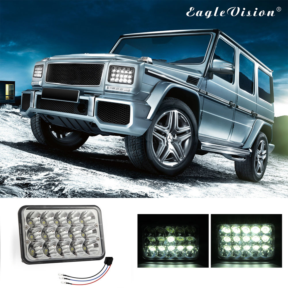 LED Headlight Die-cast Aluminum Casing 150w Square 5inches (4x6)LED Headlamp Suv Truck Working Lights White light