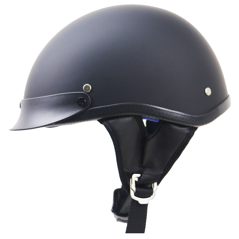 ABS Engineering Plastic Knight Vintage Half Face Motorcycle Helmet Matte black XL