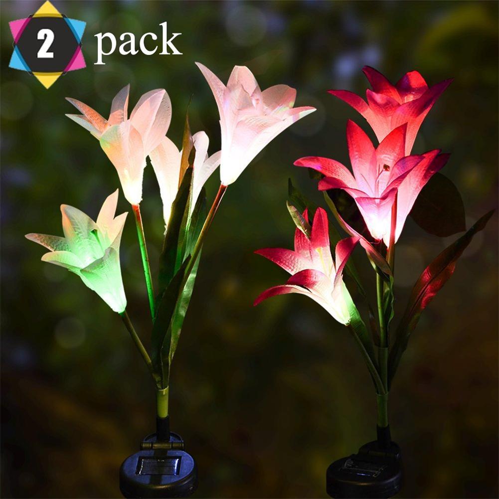 2pcs Led Color-changing Solar Lamp Outdoor Flowers Fairy Lights Patio Garden Decoration 2pcs (white + pink)