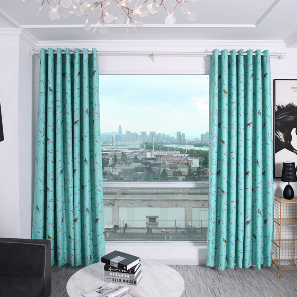 Shading Window Curtain with Bird Tree Pattern for Home Bedroom Balcony Decor blue_1 * 2.5m high punch