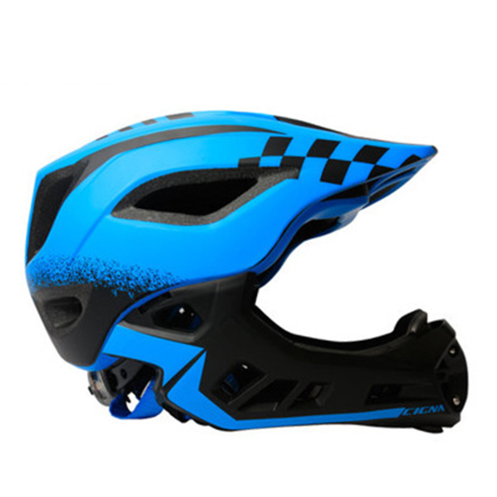 Children Unisex Cycling Helmet Head and Chin Protection EVA Helmet Black blue_M