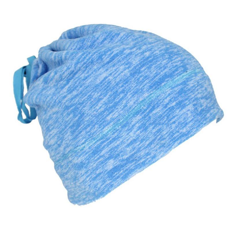 Warmful Scarf Hat Dual Purpose Autumn Winter Scarf Collar O Ring Neckerchief Warm Neck Fleece Thickened Neck Scarf YL-WB-04 Sky Blue_One size