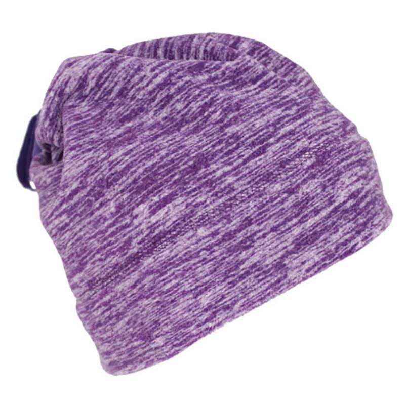 Warmful Scarf Hat Dual Purpose Autumn Winter Scarf Collar O Ring Neckerchief Warm Neck Fleece Thickened Neck Scarf YL-WB-03 purple_One size