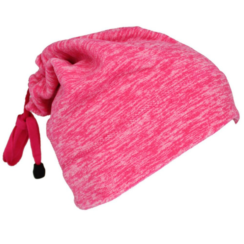 Warmful Scarf Hat Dual Purpose Autumn Winter Scarf Collar O Ring Neckerchief Warm Neck Fleece Thickened Neck Scarf YL-WB-05 Rose Red_One size