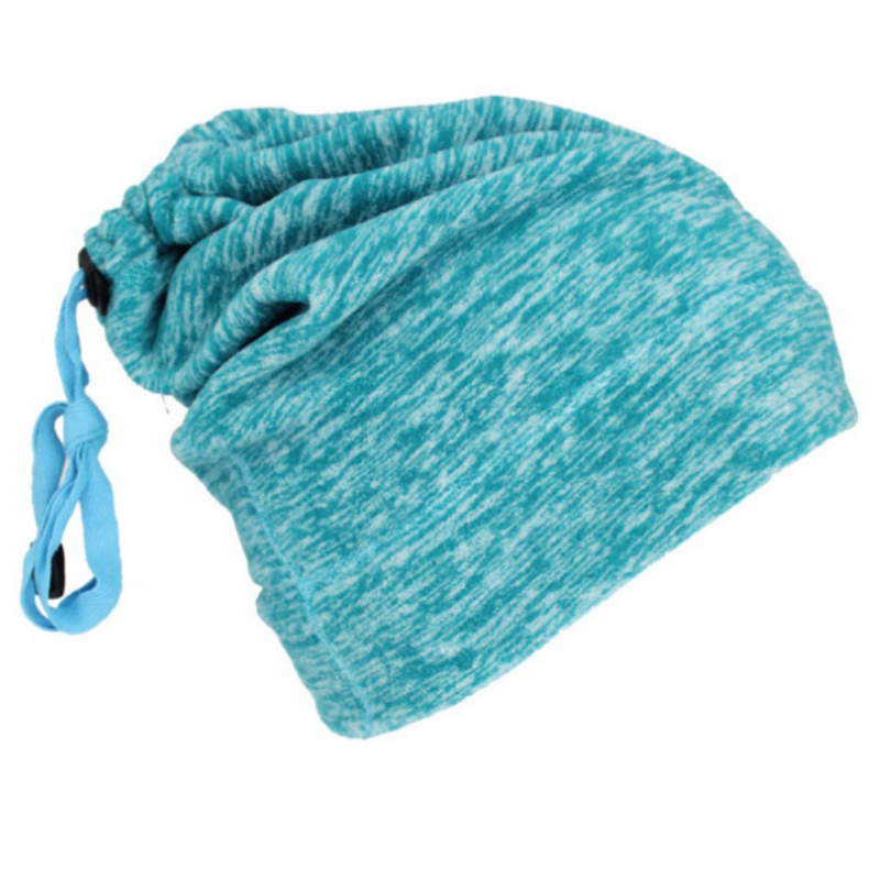Warmful Scarf Hat Dual Purpose Autumn Winter Scarf Collar O Ring Neckerchief Warm Neck Fleece Thickened Neck Scarf YL-WB-07 Lake Green_One size