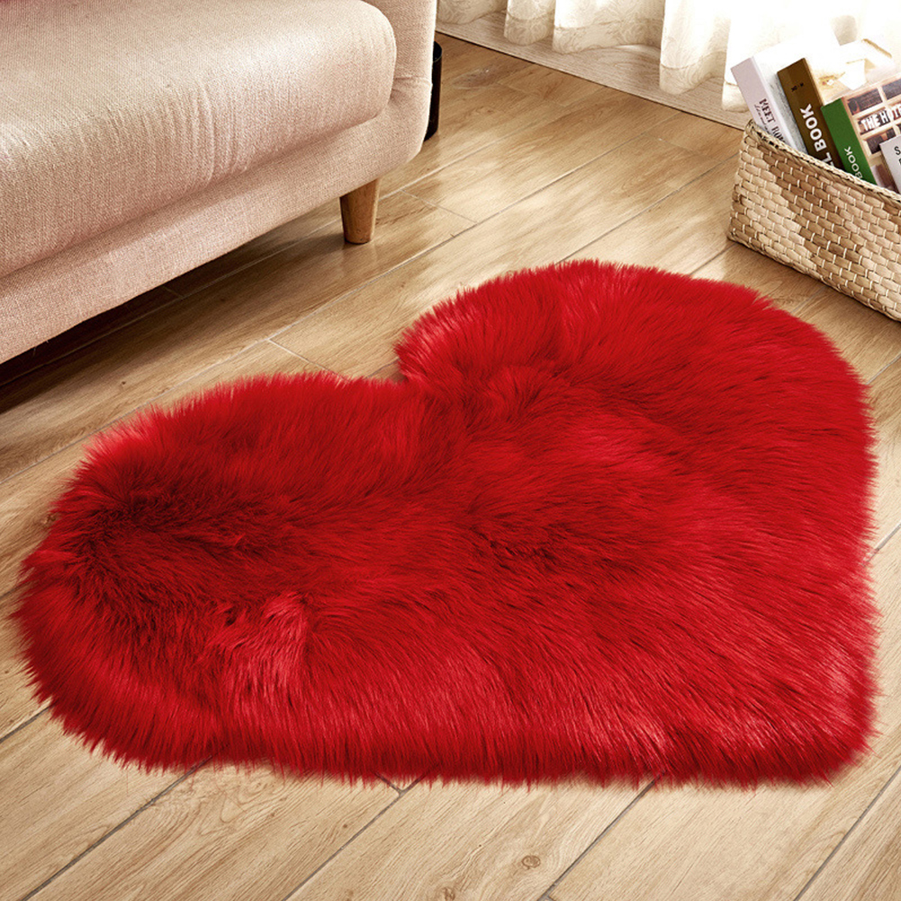Soft Artificial Plush Rug Chair Cover Warm Hairy Carpet Seat Pad Modern Style Home Decoration  red