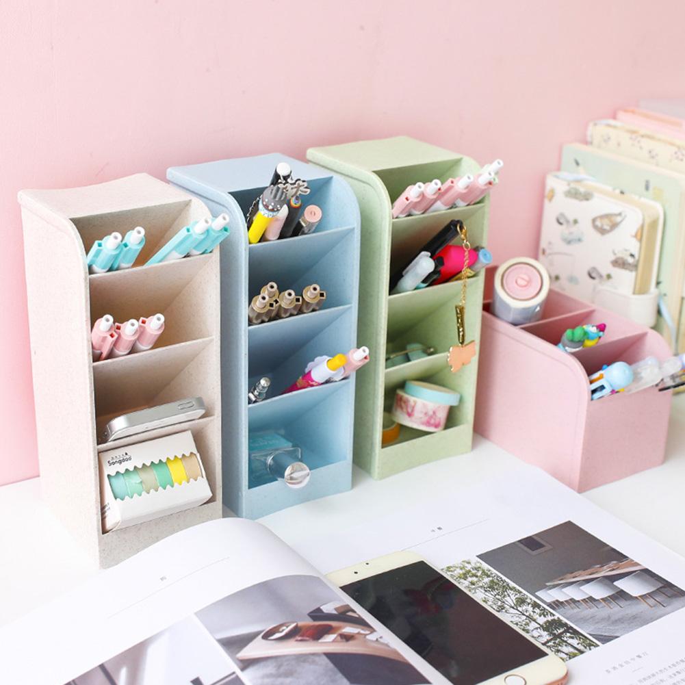 Diagonal Matte Pen Holder Desk Desktop Storage Box Stationery Rack Beige