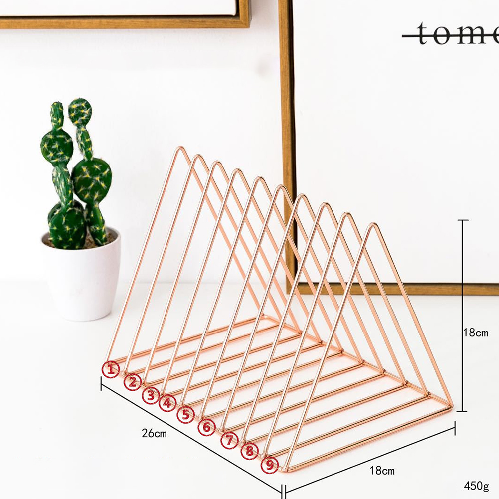 Desktop Iron Bookshelf Simple Magazine Storage Rack Metal Wire Book Stand Triangle-rose gold