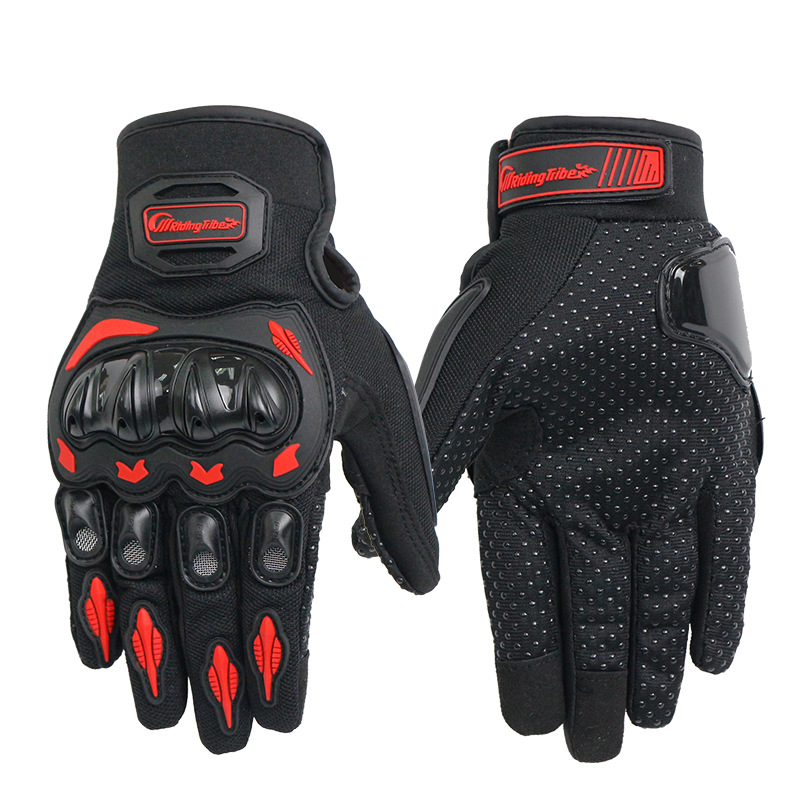 Unisex Motorcycle Gloves Summer Breathable Moto Riding Protective Gear Non-slip Touch Screen Guantes Red L