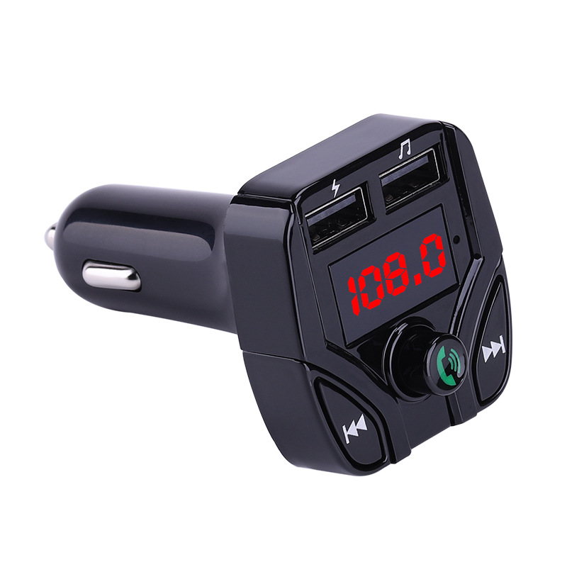 Car MP3 Player FM Transmitter Multifunction Hands-free Call Car Bluetooth Player USB Charger TF Card Support Black