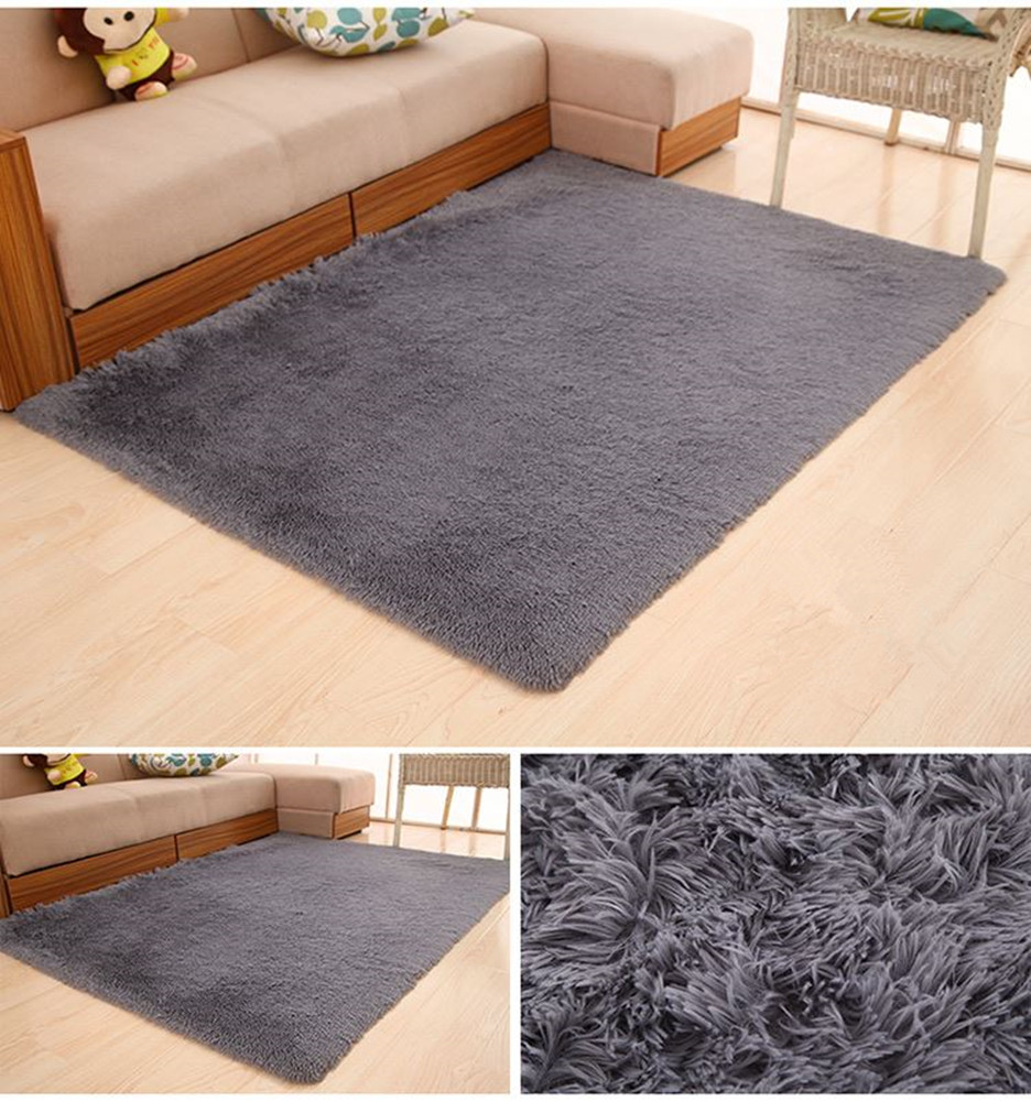 Soft Foam Shaggy Rug Non Slip Bedroom Memory Mat Batn Bathroom Shower Carpet Colors:Gray 50*80cm/1.6*2.6ft gray