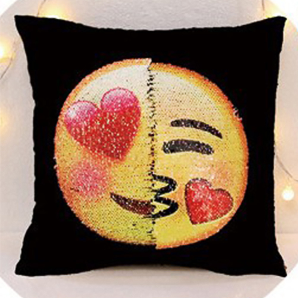 Adorable Lovely Sequins Emoji Cartoon Plush Pillow Case Home Sofa Pillowcase Car Back Cushion Covers 40 * 40cm