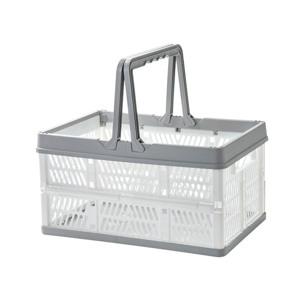 Portbale Folding Basket with Handle for Outdoor Shopping Picnic gray-white