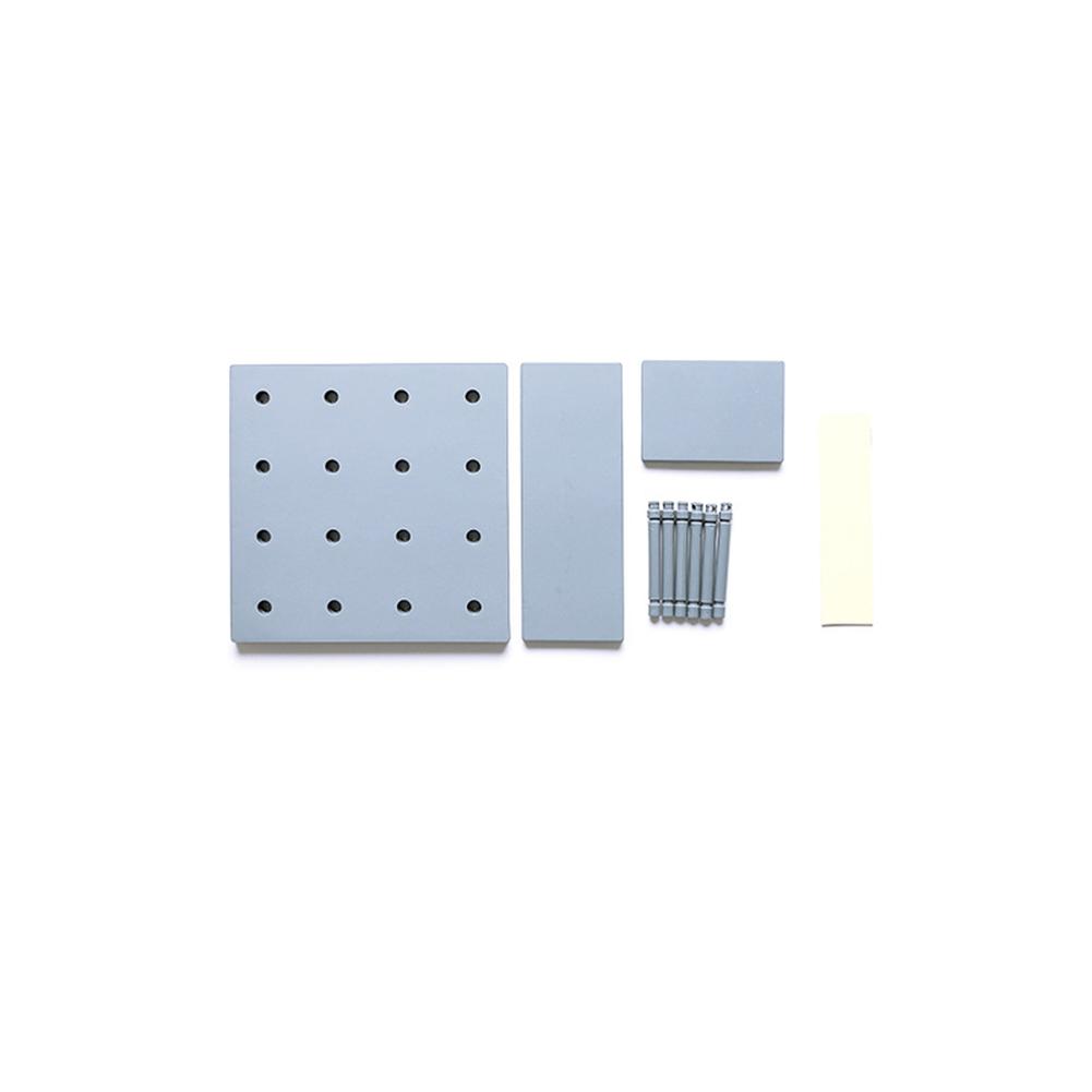 Stylish Plastic Peg Board Wall-mounted Storage Shelf Kitchen Hone Decoration gray