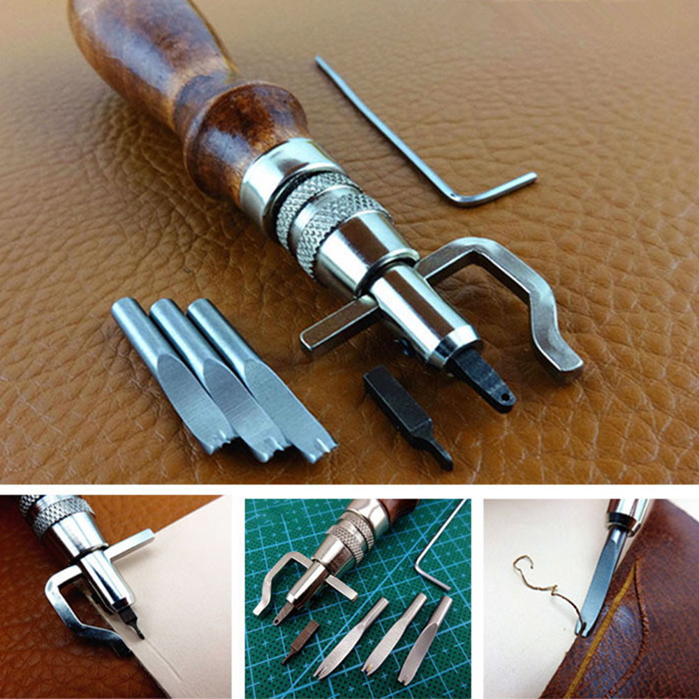 7-in-1 DIY Leather Adjustable Stitching Groover Set Blank holder Device