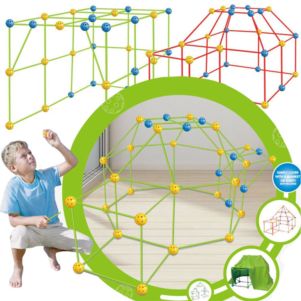 Kids Construction Fort Building Kit Build Making Kits Toys for Boys Girls DIY Building Castles Tunnels Tent Rocket Tower No tent cloth