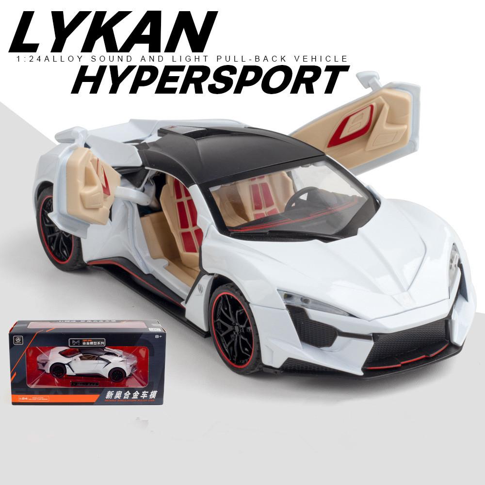 1/24 Alloy Sports Car Model  Toy Pull Back Sound Light Toys Vehicle For Children Kids Gift white