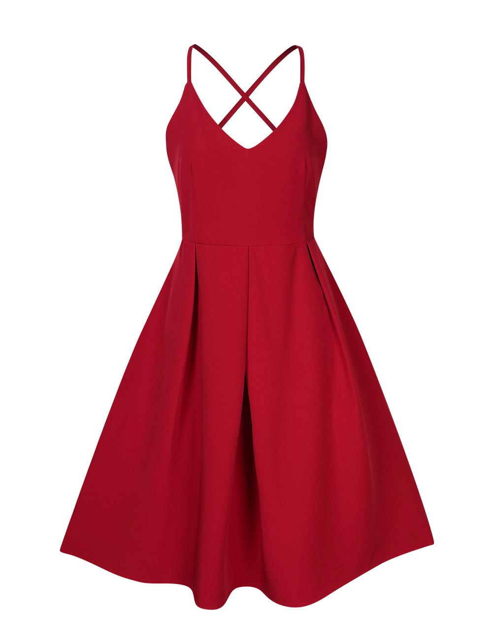 GlorySunshine Women Deep V-Neck Spaghetti Strap Dress Sleeveless Sexy Summer Cocktail Party Dresses Red_M