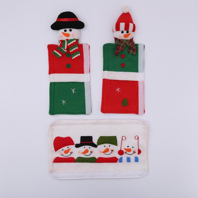 Snowman Christmas Refrigerator Microwave Oven Door Knob Covers Door Handle Home Decoration Microwave oven gloves