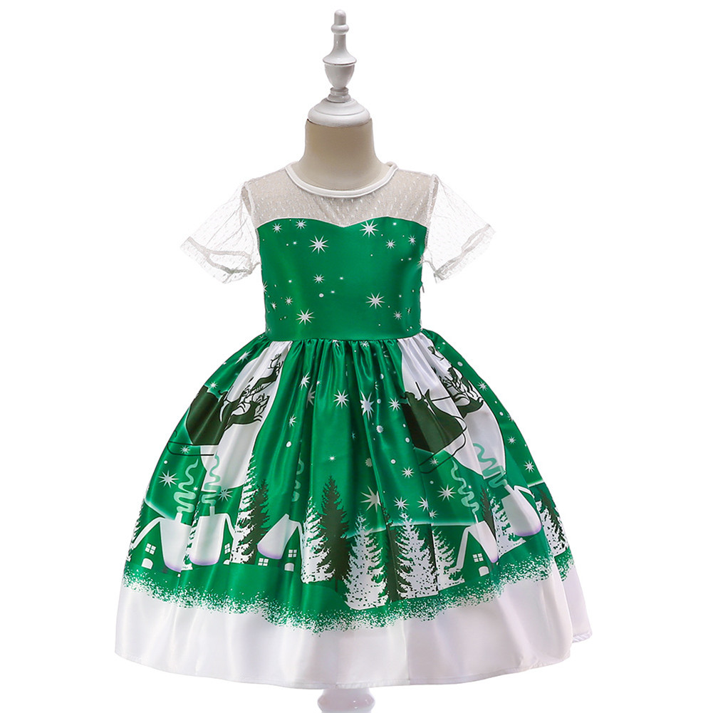 Girls Dress Christmas Short-sleeve Printed Satin Dress for 3-9 Years Old Kids SD039E-green_120cm
