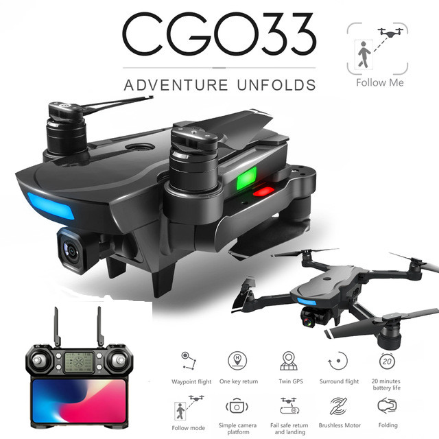 CG033 Brushless FPV Quadcopter with 4K HD Wifi Gimbal Camera RC Helicopter Foldable Drone GPS Drone Kids Gift vs SG906 F11 zen k1 1 battery