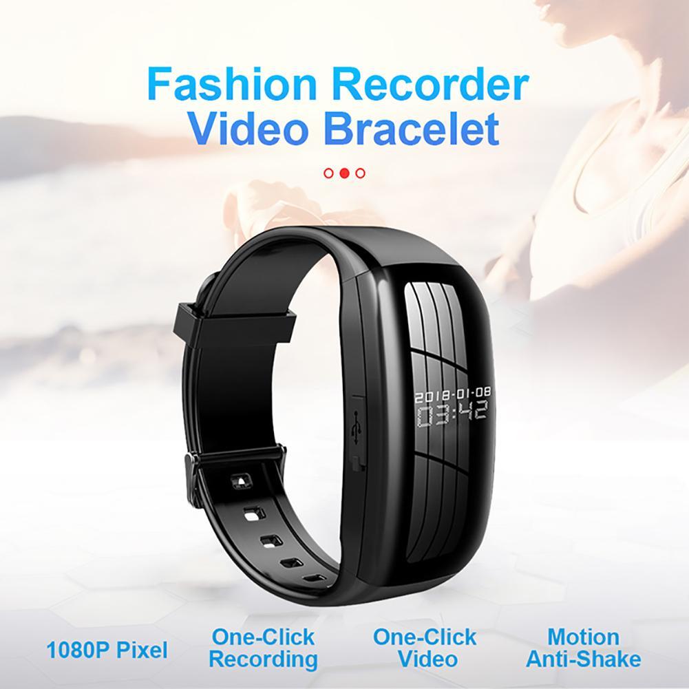 Sports Smart Bracelet Professional Recording Pen HD Noise Reduction Video Recorder Sports Mini Camera Smart Watch black