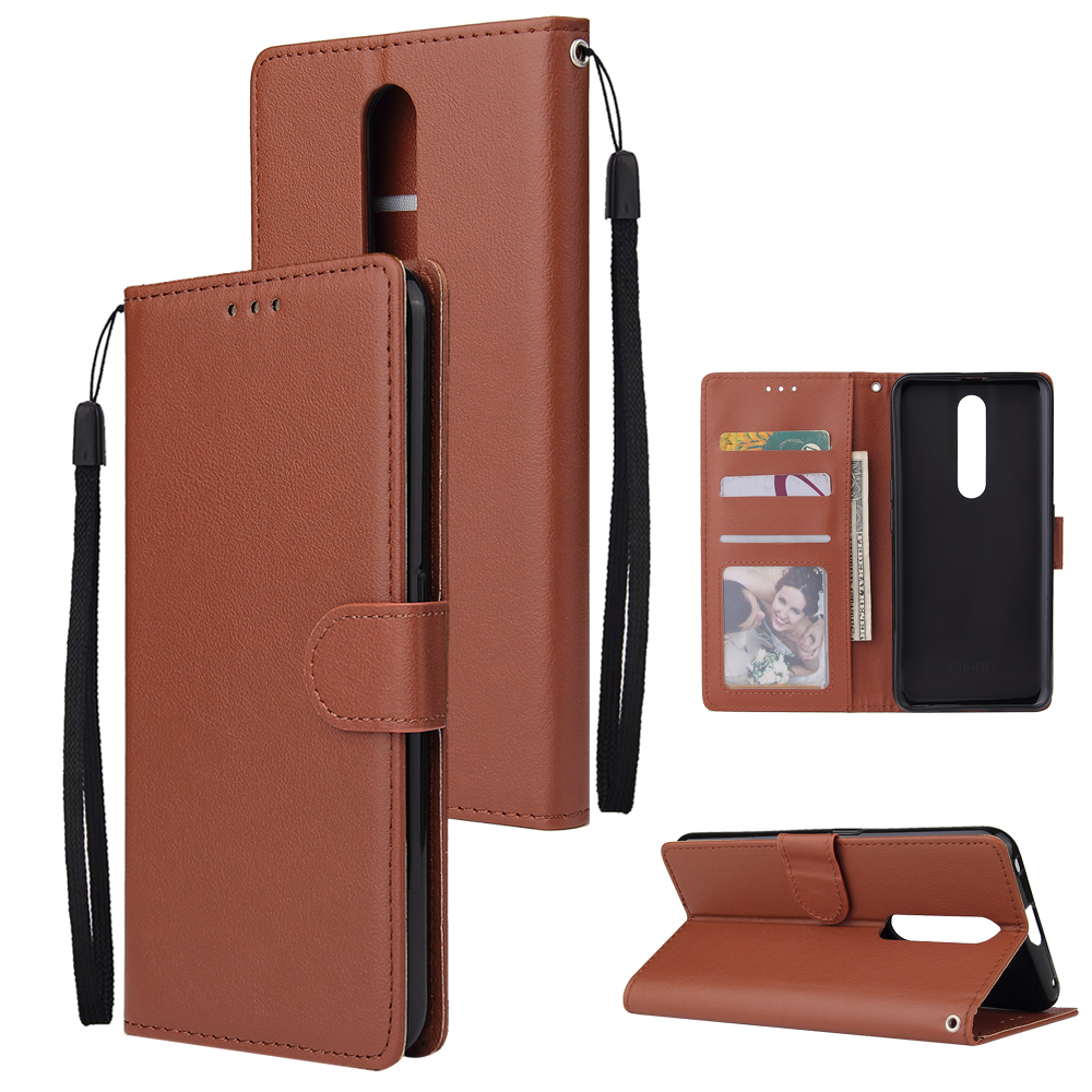 For OPPO F11 pro Wallet-type PU Leather Protective Phone Case with Buckle & 3 Card Position brown
