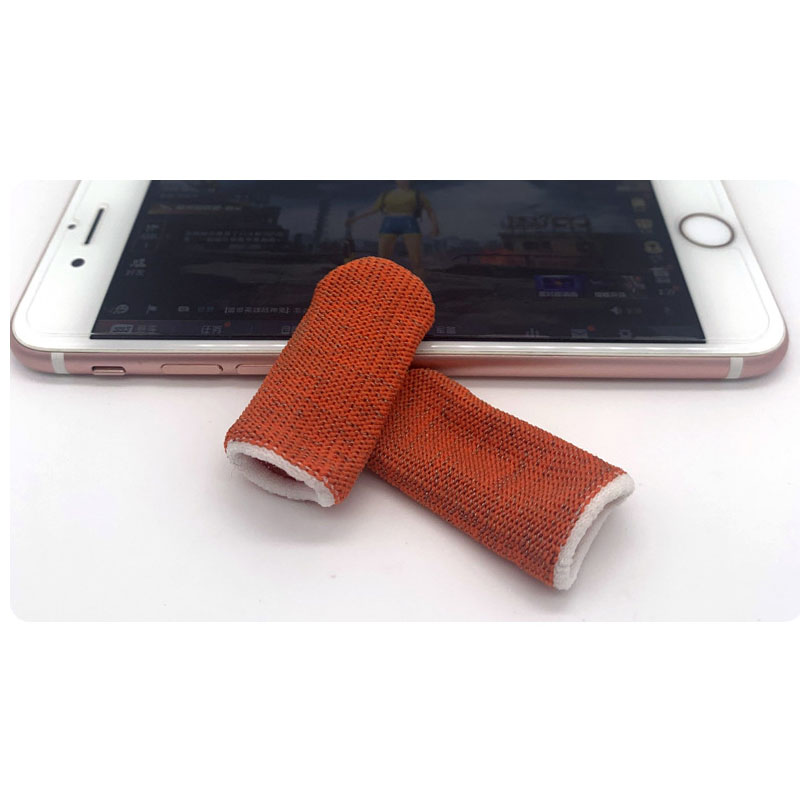Gaming Finger Sleeve Touchscreen Finger Gloves Conductive Fiber Cap Anti-Sweat Breathable Touch and Sensitive for Mobile Phone Games  Orange