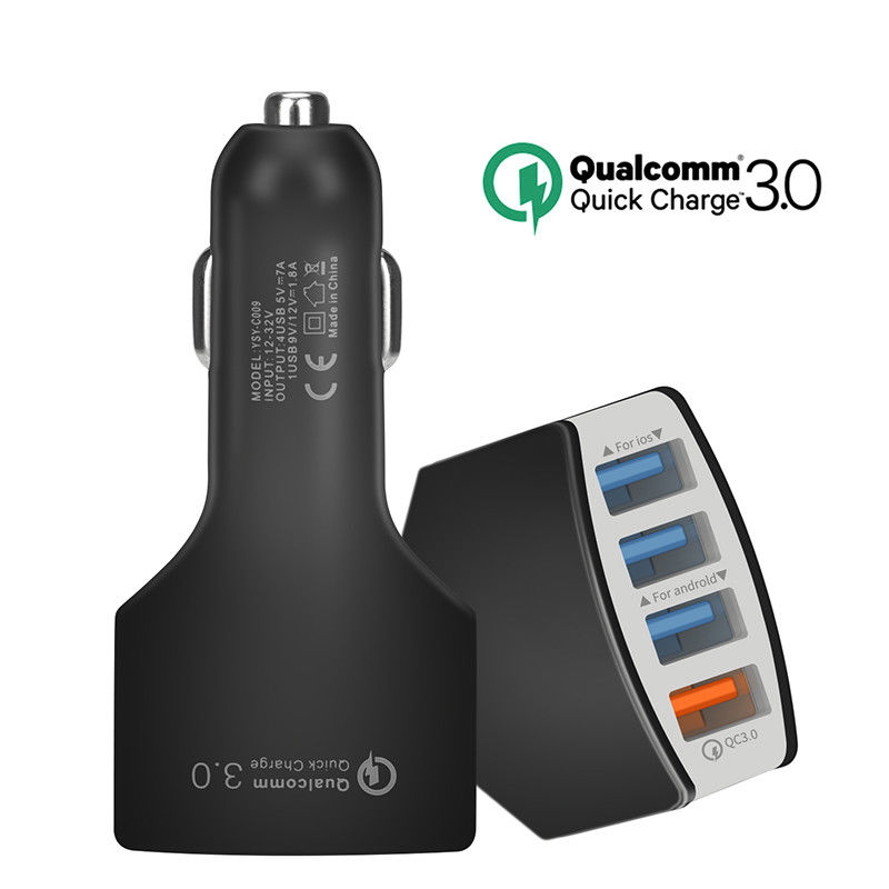 4 Port USB Car Charger Adapter Quick Charge 3.0 Fast Charging for Samsung iPhone black