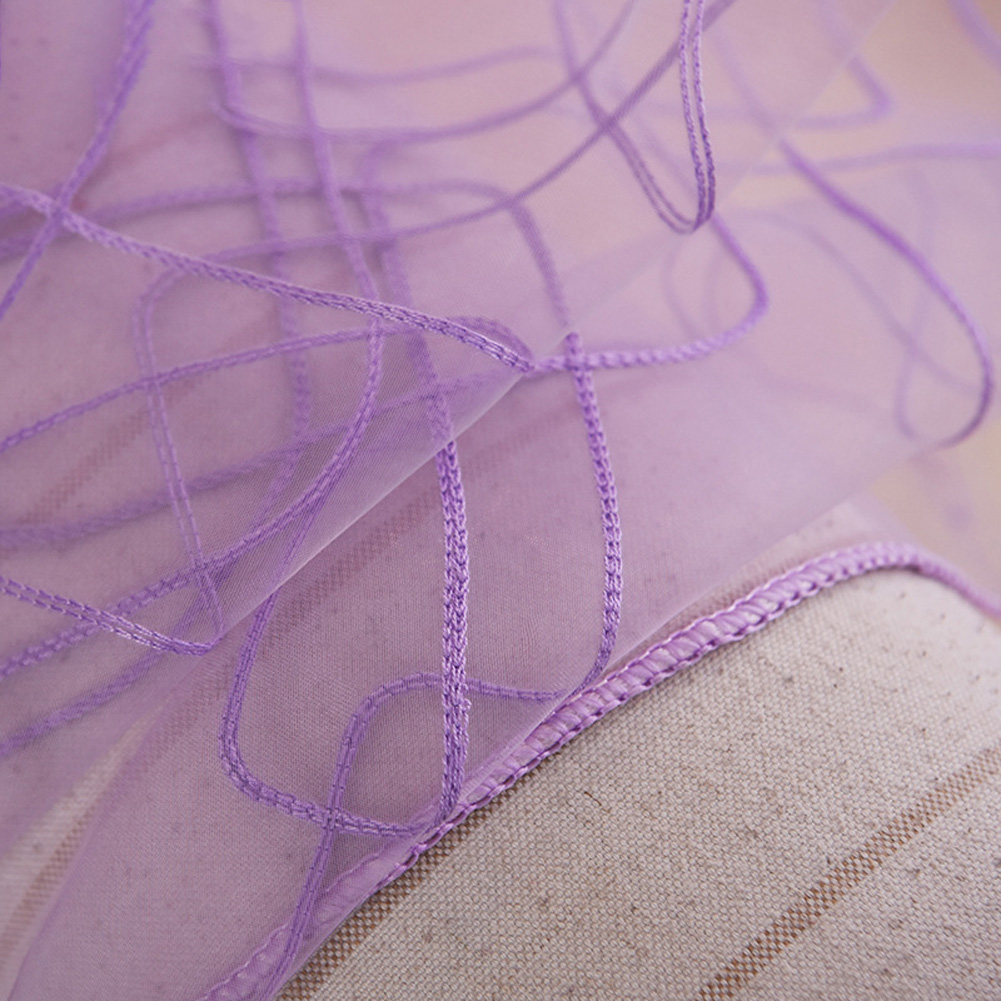 Geometric Embroidery Window Curtain Tulle for Drapes In Living Room Home Decor purple_1 * 2.5 meters