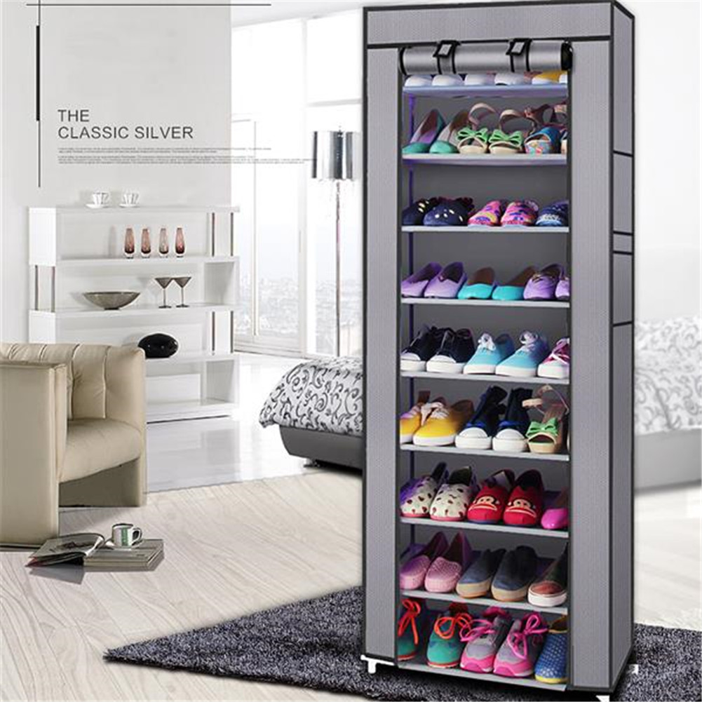 [US Direct] 9 Tiers Shoe  Rack With Dustproof Cover Closet Shoe Storage Cabinet Organizer gray