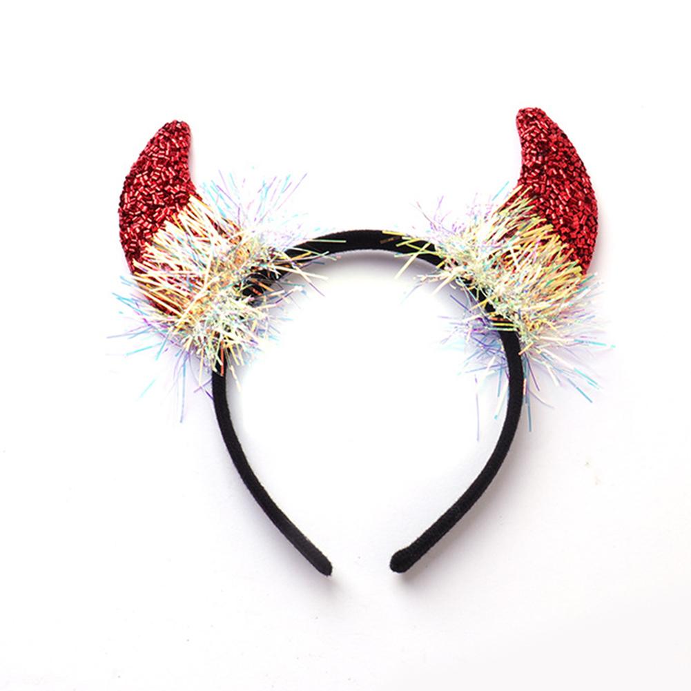 Deer Antlers/Horn Shape Headband Hair Hoop for Halloween Party Wear 4# red horn