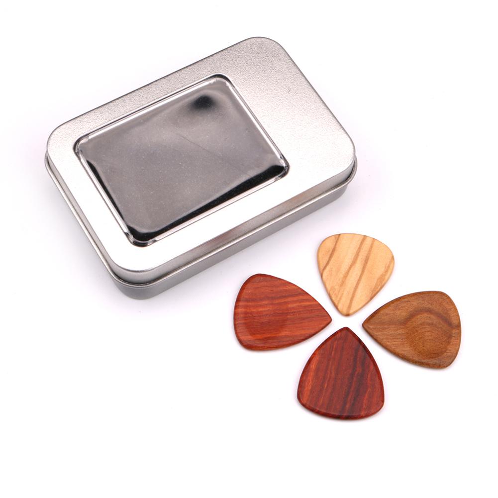 4Pcs/Set Wooden Plectrums Picks Guitar Bass Banjo Accessory with Storage Case  Heart-shaped