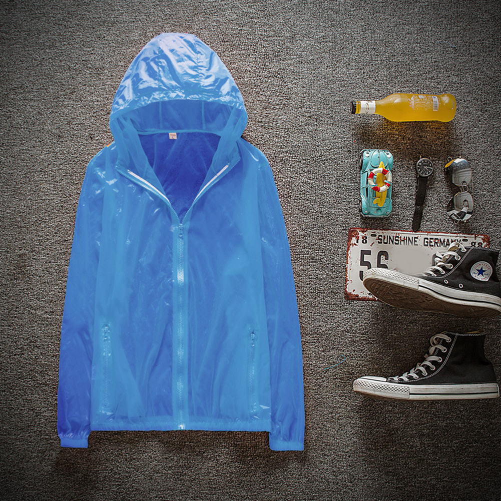 Couple Quick-drying Breathable Anti-UV Wear-resistant Sunscreen Hooded Coat Outdoor Sportswear sky blue_XXL