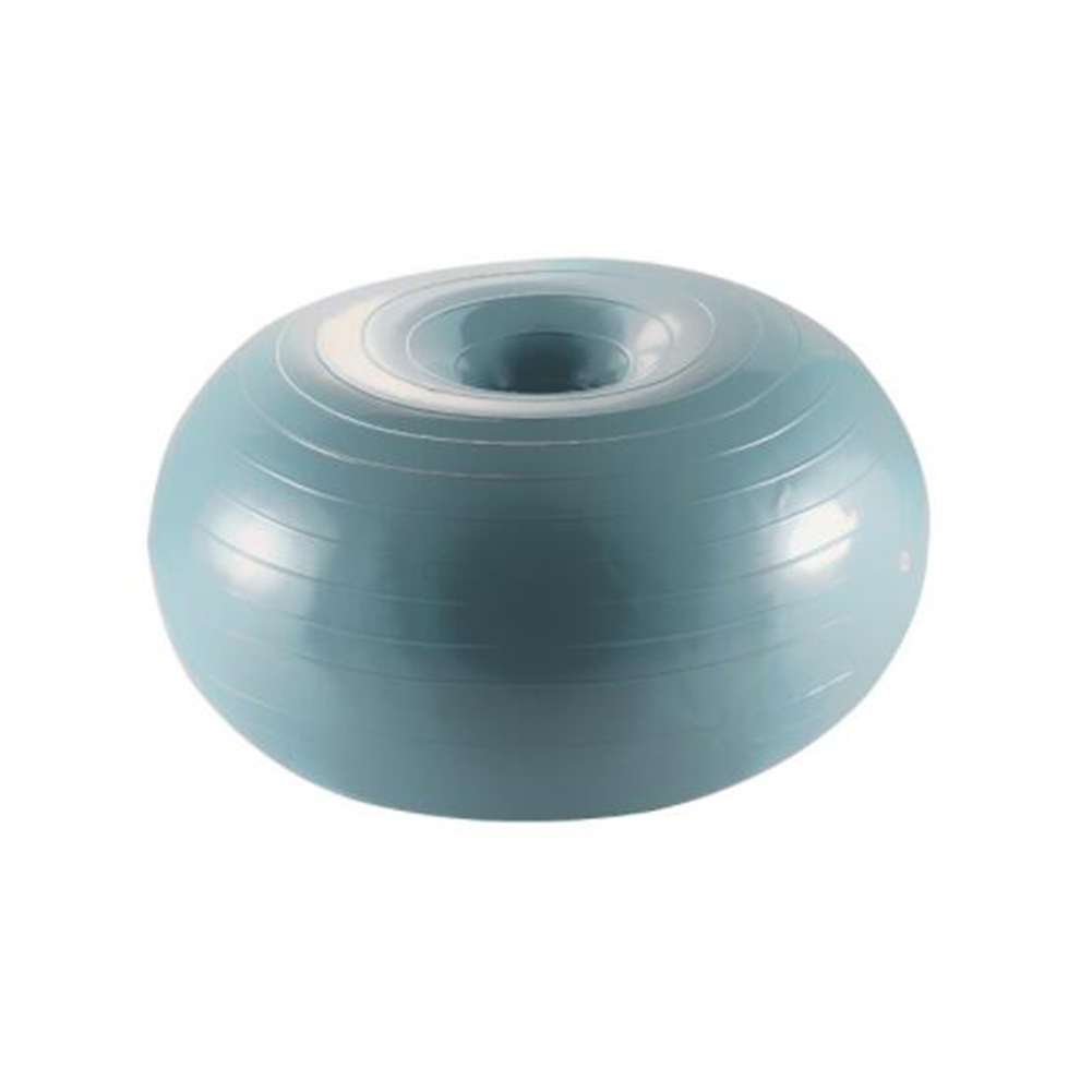 Donut Yoga Ball Thicken Explosion-proof Inflatable Balance Fitness Balance Ball with Inflator gray