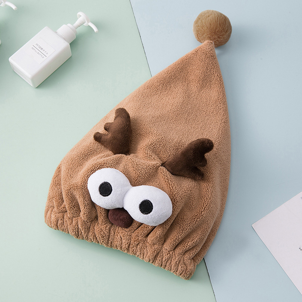 Dry Hair Hat Cartoon Quick Dry Water Absorption Coral Fleece Shower Cap Coffee_25 * 40cm