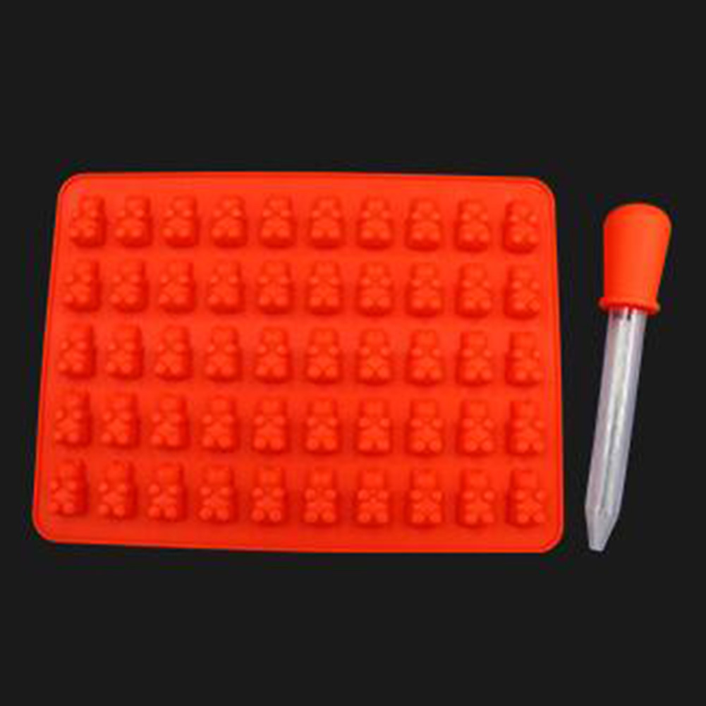 50 Cavity Silicone Mold Bear Shape Mould for Candy Jelly Ice Tube Tray red