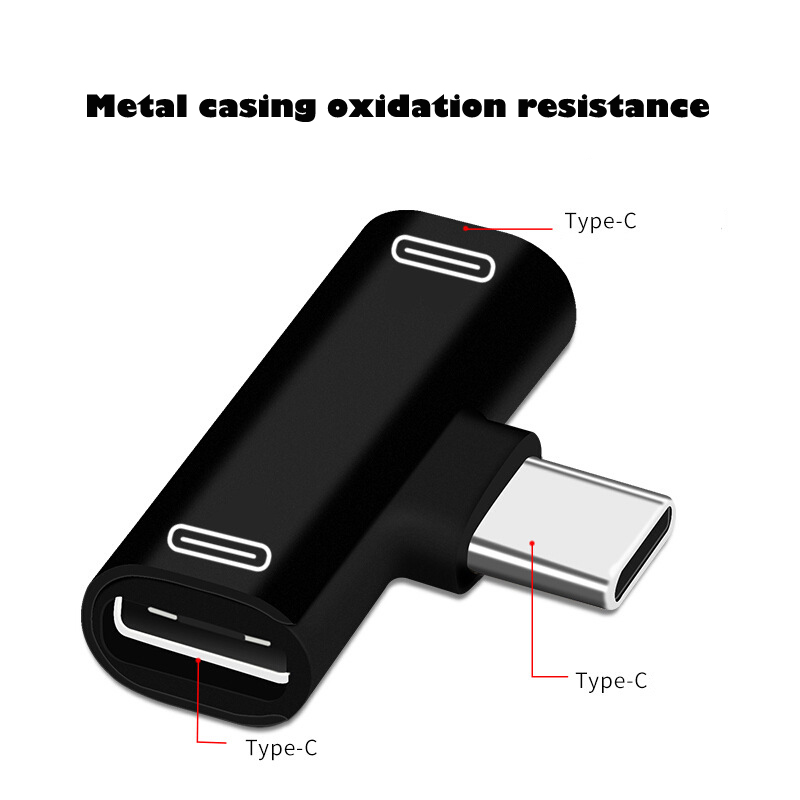 Dual Type C USB-C Earphone Headphone Audio Charging Charger Adapter Splitter Convertor for Xiaomi 6 6X 8 Note3 Mix 2 Huawei Mate 10 P20  black