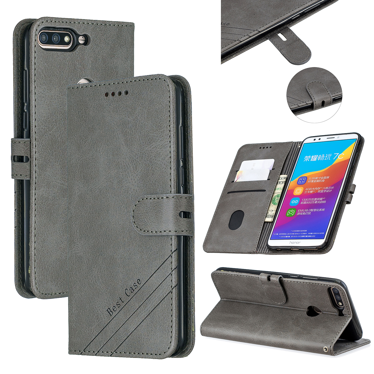 For HUAWEI Honor 7C-Enjoy 8-Y7 2018-Y7 Pro 2018 Denim Pattern Solid Color Flip Wallet PU Leather Protective Phone Case with Buckle & Bracket gray