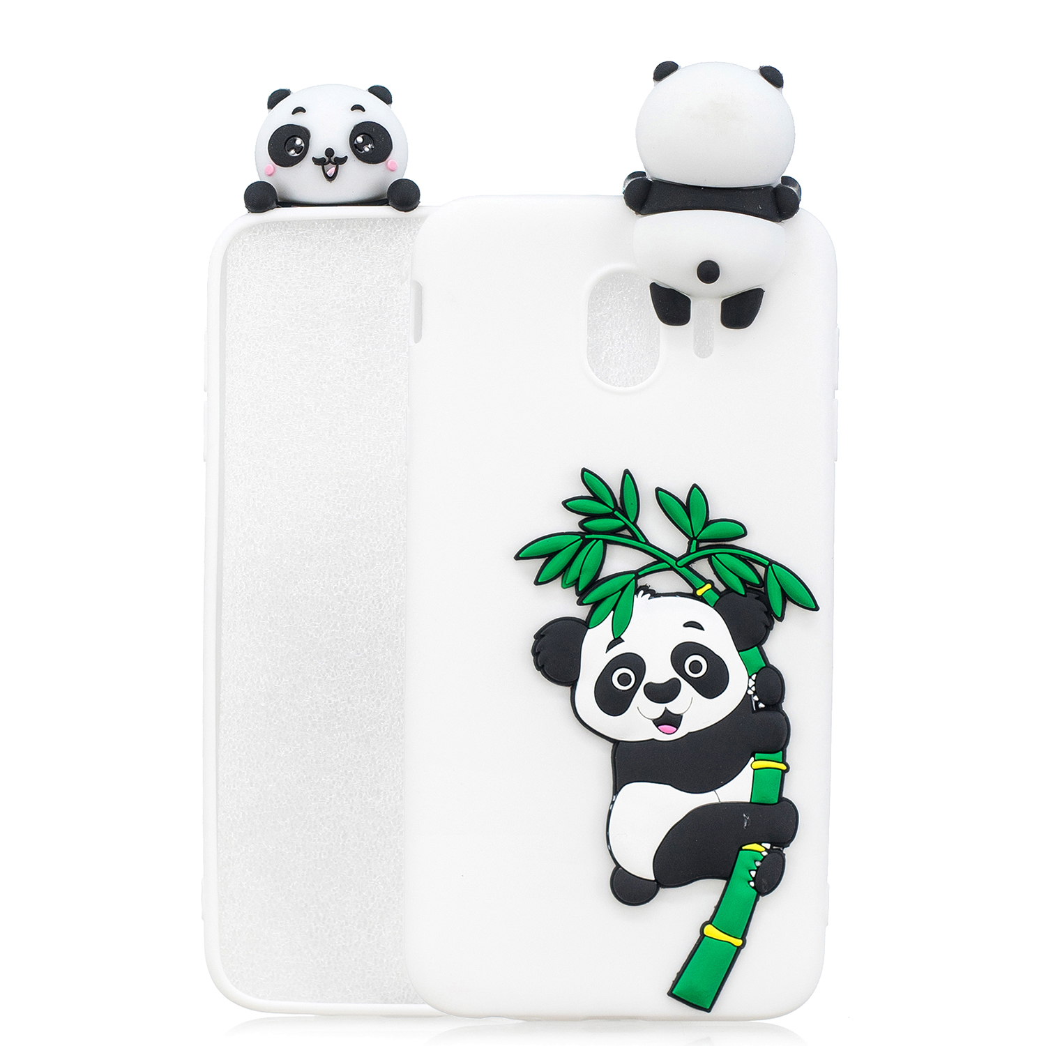 For Samsung J4 2018/J4 Plus Phone Case 3D Cartoon Panda Bamboo Cellphone Back Shell Shockproof Smartphone Cover White